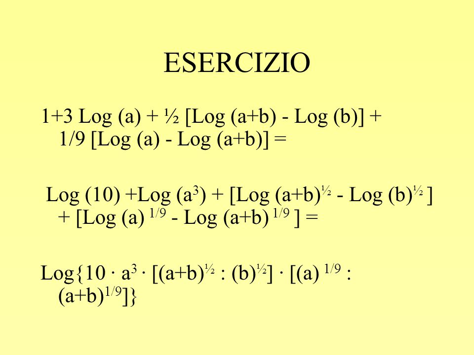 ESERCIZIO 1+3 Log (a) + ½ [Log (a+b) - Log (b)] + 1/9 [Log (a) - Log (a+b)] =